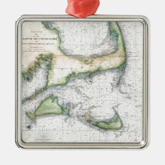 Ornamento De Metal Mapa Cape Cod, Nantucket, Martha's Vineyard