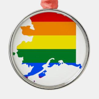 Ornamento De Metal Mapa da bandeira de Alaska LGBT