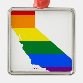 Ornamento De Metal Mapa da bandeira de Califórnia LGBT