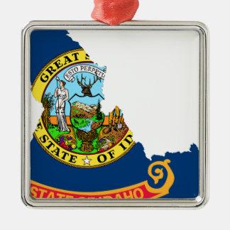 Ornamento De Metal Mapa da bandeira de Idaho