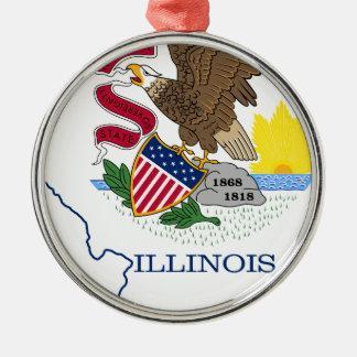Ornamento De Metal Mapa da bandeira de Illinois