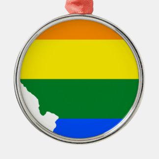Ornamento De Metal Mapa da bandeira de Illinois LGBT