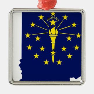 Ornamento De Metal Mapa da bandeira de Indiana