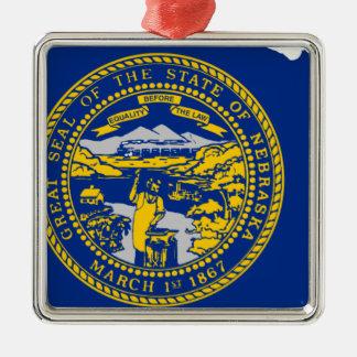 Ornamento De Metal Mapa da bandeira de Nebraska