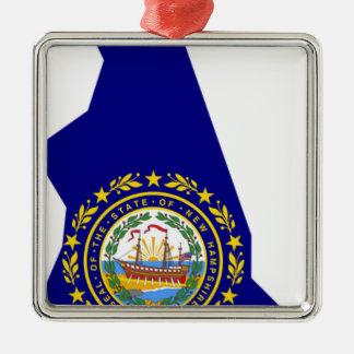 Ornamento De Metal Mapa da bandeira de New Hampshire