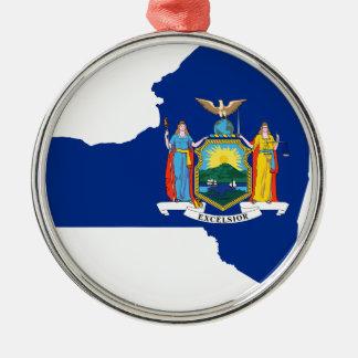 Ornamento De Metal Mapa da bandeira de New York