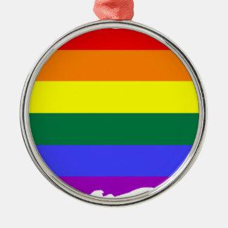 Ornamento De Metal Mapa da bandeira de Puerto Rico LGBT