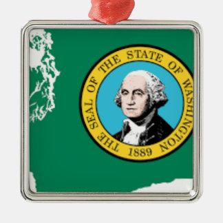 Ornamento De Metal Mapa da bandeira de Washington