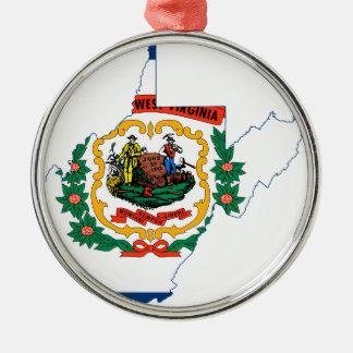 Ornamento De Metal Mapa da bandeira de West Virginia