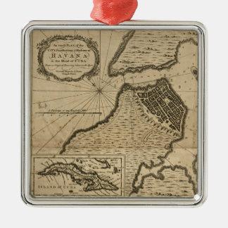 Ornamento De Metal Mapa de Havana, Cuba (1762)