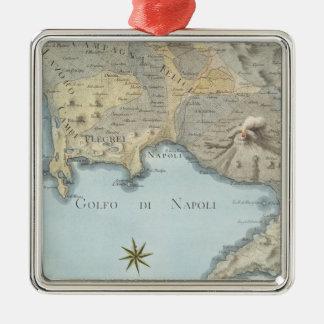 Ornamento De Metal Mapa do golfo de Nápoles e de arredores