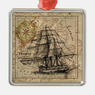 Ornamento De Metal Mapa e navio do vintage