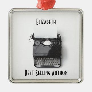 Ornamento De Metal Máquina de escrever velha para o autor,