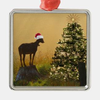 Ornamento De Metal Maravilhas solitárias da cabra na árvore de Natal
