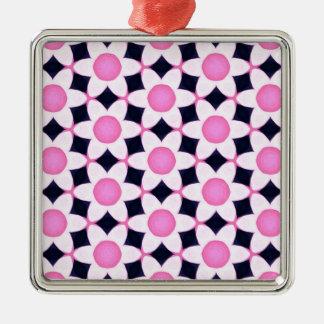 Ornamento De Metal Margaridas cor-de-rosa robustas no preto