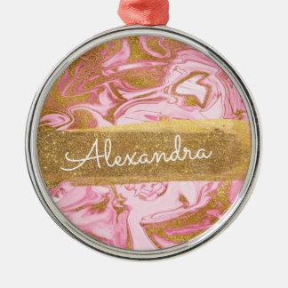Ornamento De Metal Mármore cor-de-rosa e branco com faísca & brilho