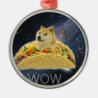 Ornamento De Metal meme do taco do espaço do doge