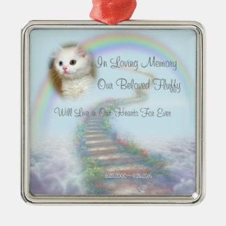 Ornamento De Metal Memorial personalizado bonito do gato ou do cão