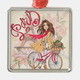 Ornamento De Metal Menina bonita em uma bicicleta em Paris