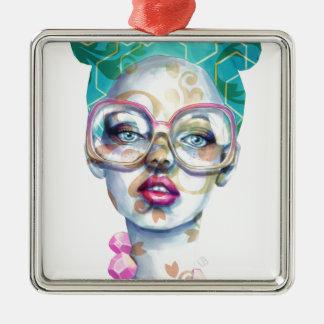 Ornamento De Metal Menina com arte Funky do Watercolour dos vidros