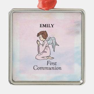 Ornamento De Metal Menina, primeiro anjo do comunhão