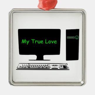 Ornamento De Metal Meu amor verdadeiro meu computador