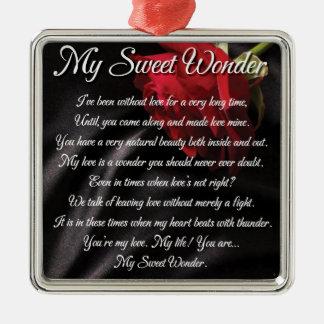 Ornamento De Metal Meu poster doce da poesia da maravilha