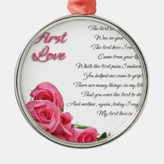 Ornamento De Metal Meu primeiro poema do amor