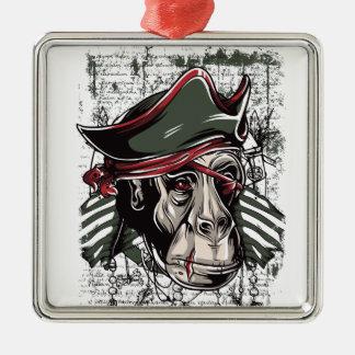 Ornamento De Metal monkey o design bonito do pirata