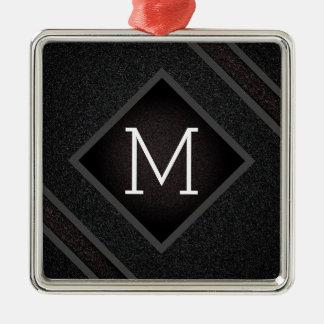 Ornamento De Metal Monograma de pedra preto corajoso moderno da