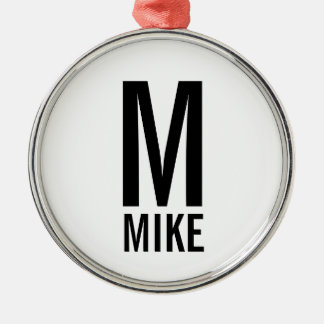 Ornamento De Metal Monograma e nome personalizados corajosos modernos