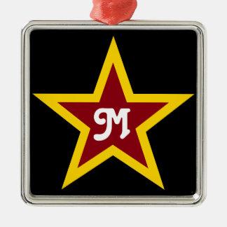 Ornamento De Metal Monograma feito sob encomenda simples da estrela