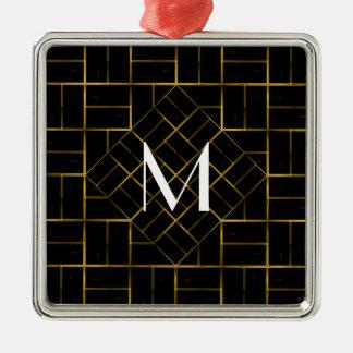 Ornamento De Metal Monograma geométrico elegante do teste padrão do