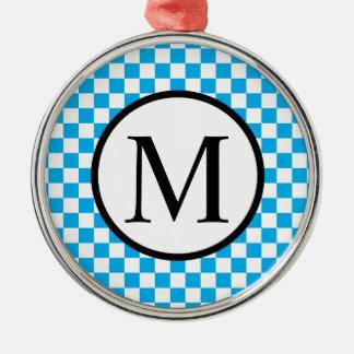 Ornamento De Metal Monograma simples com tabuleiro de damas azul