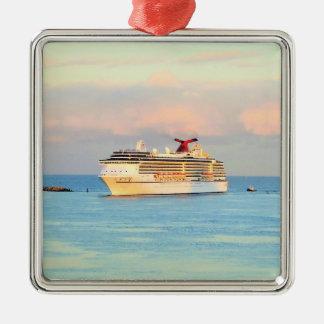 Ornamento De Metal Nascer do sol Pastel com navio de cruzeiros