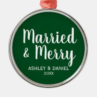 Ornamento De Metal Natal casado e alegre GW do casamento