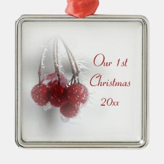 Ornamento De Metal Natal das bagas gelados vermelhas ø junto