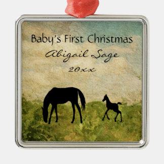 Ornamento De Metal Natal do bebê personalizado do cavalo do potro da
