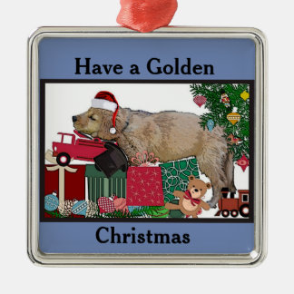 Ornamento De Metal Natal do golden retriever