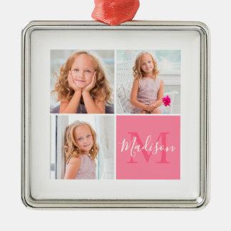 Ornamento De Metal Natal do monograma da foto do quadrado da família