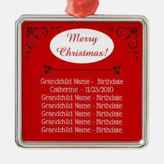 Ornamento De Metal Natal dos nomes dos netos para avós