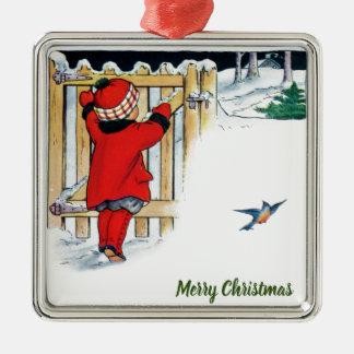 Ornamento De Metal Natal - menina no vermelho