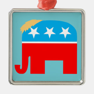 Ornamento De Metal Natal republicano do elefante DJT do GOP do cabelo