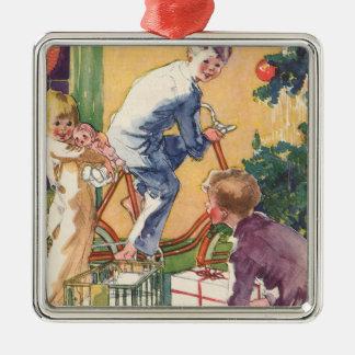 Ornamento De Metal Natal vintage, crianças do vintage com presentes