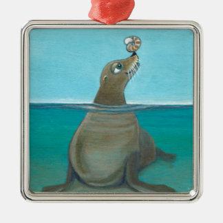 """Ornamento De Metal """"Nautilus"""" o leão de mar"""