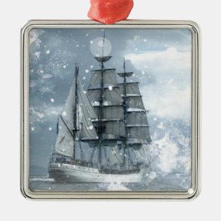 Ornamento De Metal navio de pirata do vintage da tempestade da neve