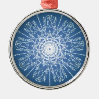 Ornamento De Metal Neve espiral pagã de Wicca do Pentagram