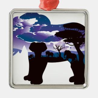 Ornamento De Metal Noite africana com elefante 5