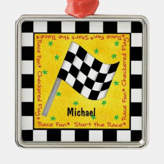 Ornamento De Metal Nome Checkered da bandeira do fã da auto raça