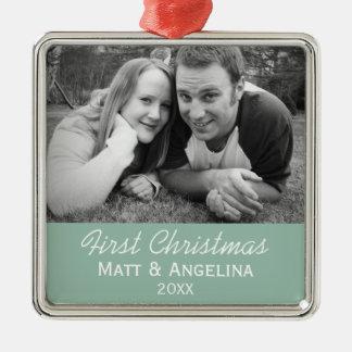 Ornamento De Metal Nossa primeira foto do Natal - casamento ou